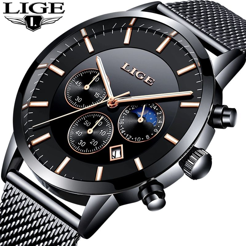 New LIGE Mens Watches Top Brand Luxury Business Chronograph Male Creative Quartz Watch Men Fashion Sport Watch Relogio Masculino