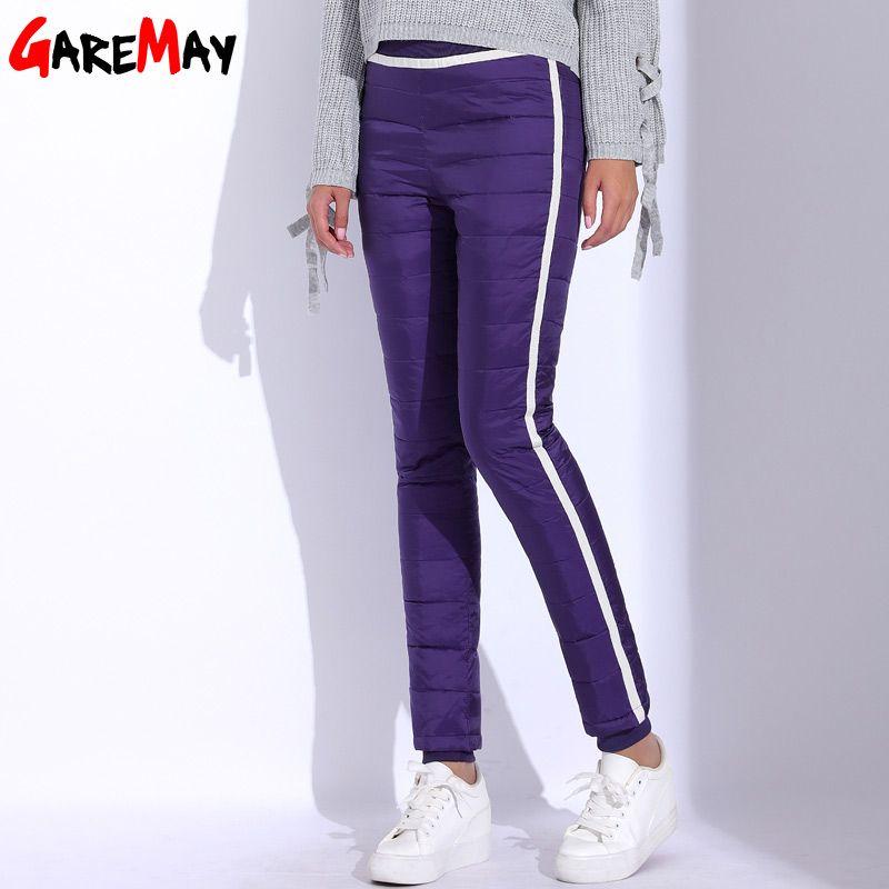 En Bas du Pantalon de femmes D'hiver Côté Bande Pantalon Pour Femmes Chaud Pantalon Femme Plus La Taille Eastic Taille Casual Épais Pantalon Long GAREMAY