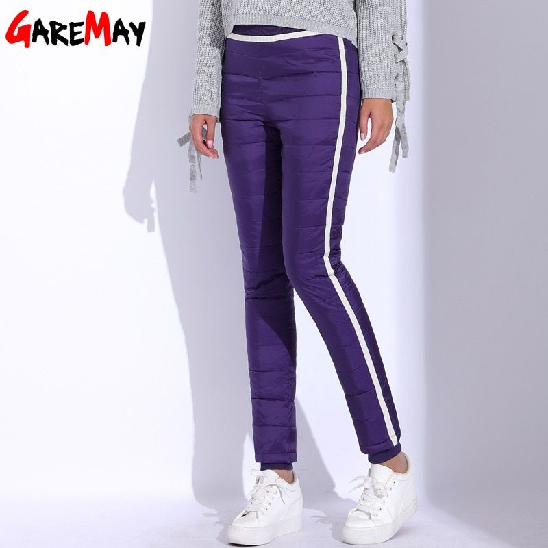Women's Down Pants Winter Side Stripe Pants For Women Warm Pantalon Femme Plus Size Eastic Waist Casual Thick Long Pant GAREMAY