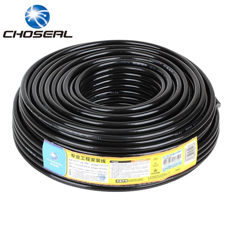 Choseal Gigabit Cat6 Ethernet Cable Waterproof 50m 100m 305m 8Pin Double Shielding Twisted Pair Wire For Network Wiring