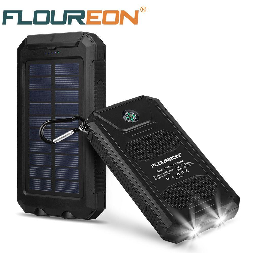 Floureon 10000 mah Panneau Solaire Banque D'alimentation Étanche À L'eau Double USB Chargeur avec 2 LED Lumière