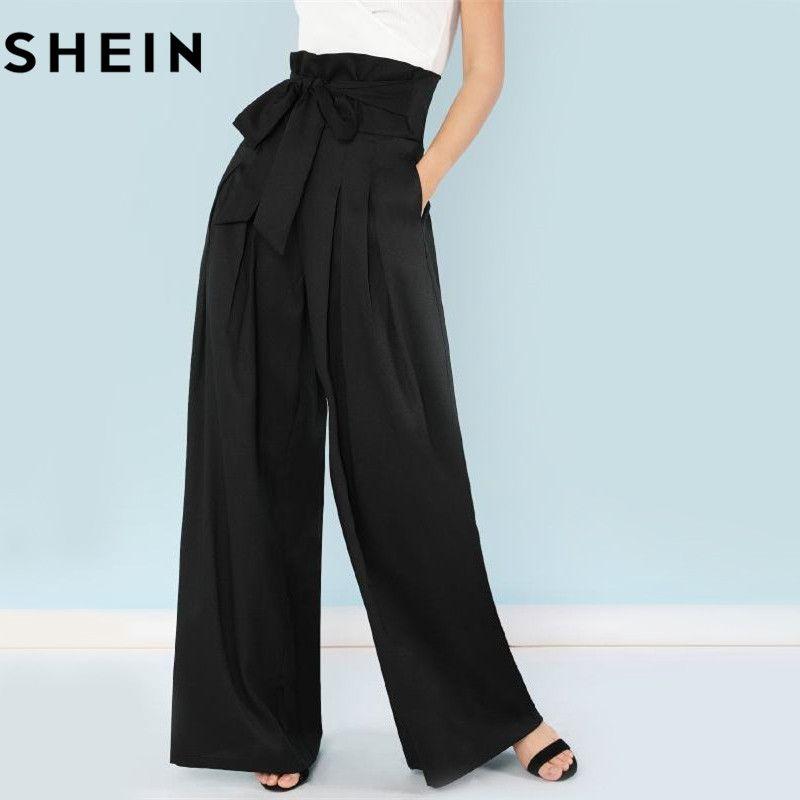 SHEIN Self <font><b>Belted</b></font> Box Pleated Palazzo Pants Women Elegant Loose Long Pants 2018 Fall Ginger High Waist Wide Leg Pants