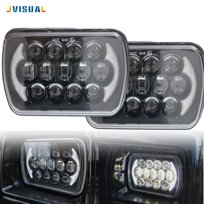 5X7 7X6 Inch Retangular Feixe Farol Com DRL para H6014 H6052 H6054 H6052 Square headlight for Jeep Cherokee XJ