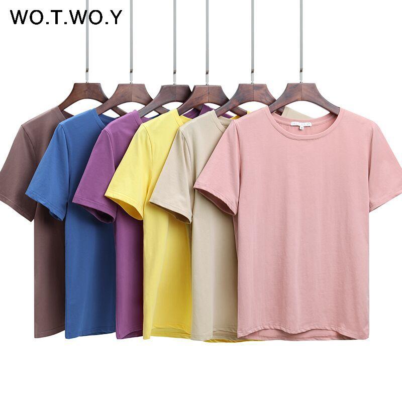 WOTWOY 2018 été coton T-shirt femmes lâche Style solide T-shirt femme à manches courtes top T-shirts col rond T-shirt femmes 12 couleurs