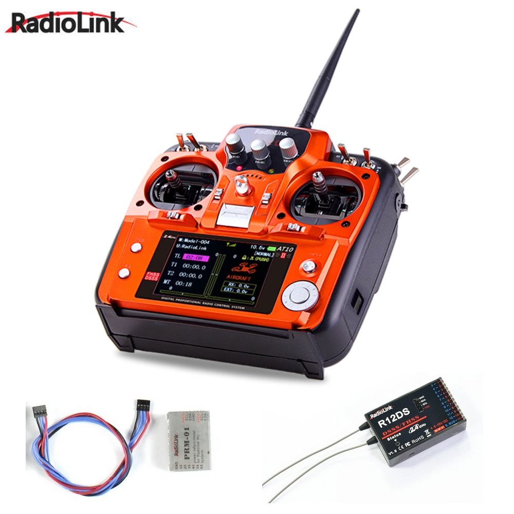 RadioLink AT10 II AT10II RC Transmitter 2.4G 10CH Remote Control System with R12D II Receiver for RC Airplane Helicopter