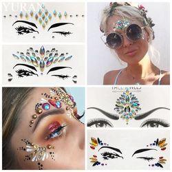 Summer Style Flash Eye Gemstone Temporary Tattoo Stickers Women Festival Decoration Rhinestone Waterproof Handpicked Face Jewel