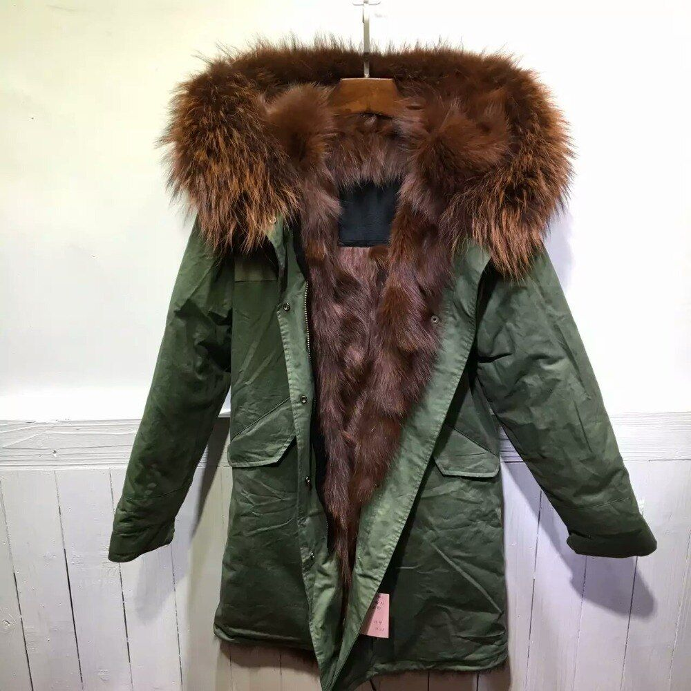 Brown Fully Fox Fur Parka Mr fur Wear, Remove Coffee Brown Fur lining Long Mens Parka With Raccoon