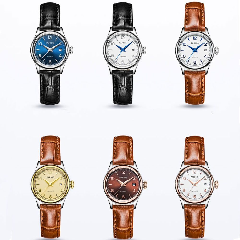2017 Newest Hot 27mm parnis Blue Brown White Golden Dial Women Sapphire Glass Japan Miyota Automatic Movement Ladies Watches