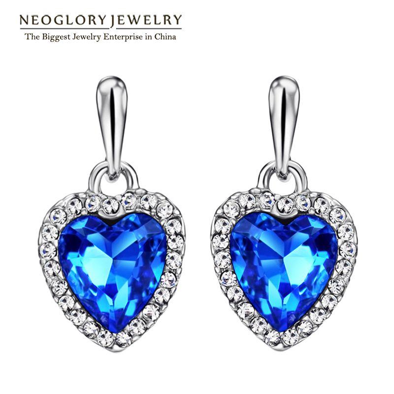 Neoglory bleu cristal strass coeur amour Dangle boucles d'oreilles pour femmes filles ami 2018 nouveau bijoux charme cadeaux mode He1