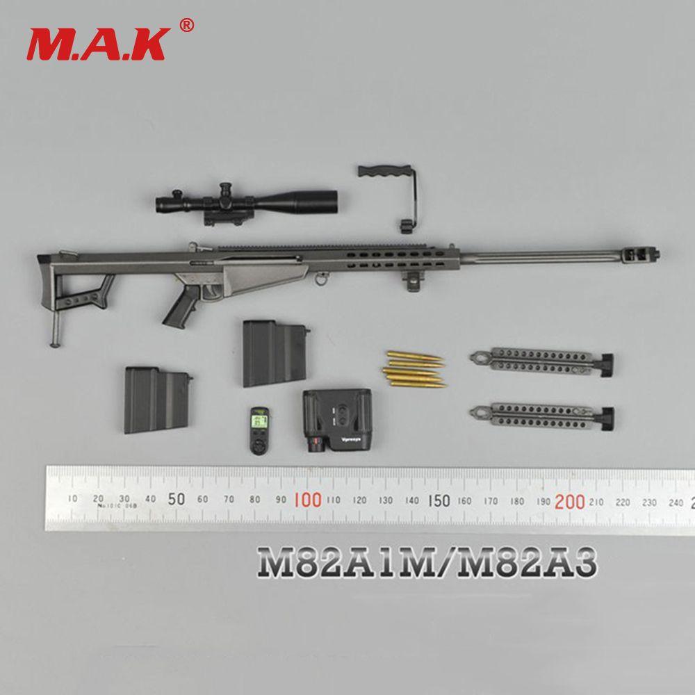 1/6 fusil de Sniper couleur métal modèle Barrett M82A1 SASR modèle d'arme pour 12 pouces soldat Figure accessoire