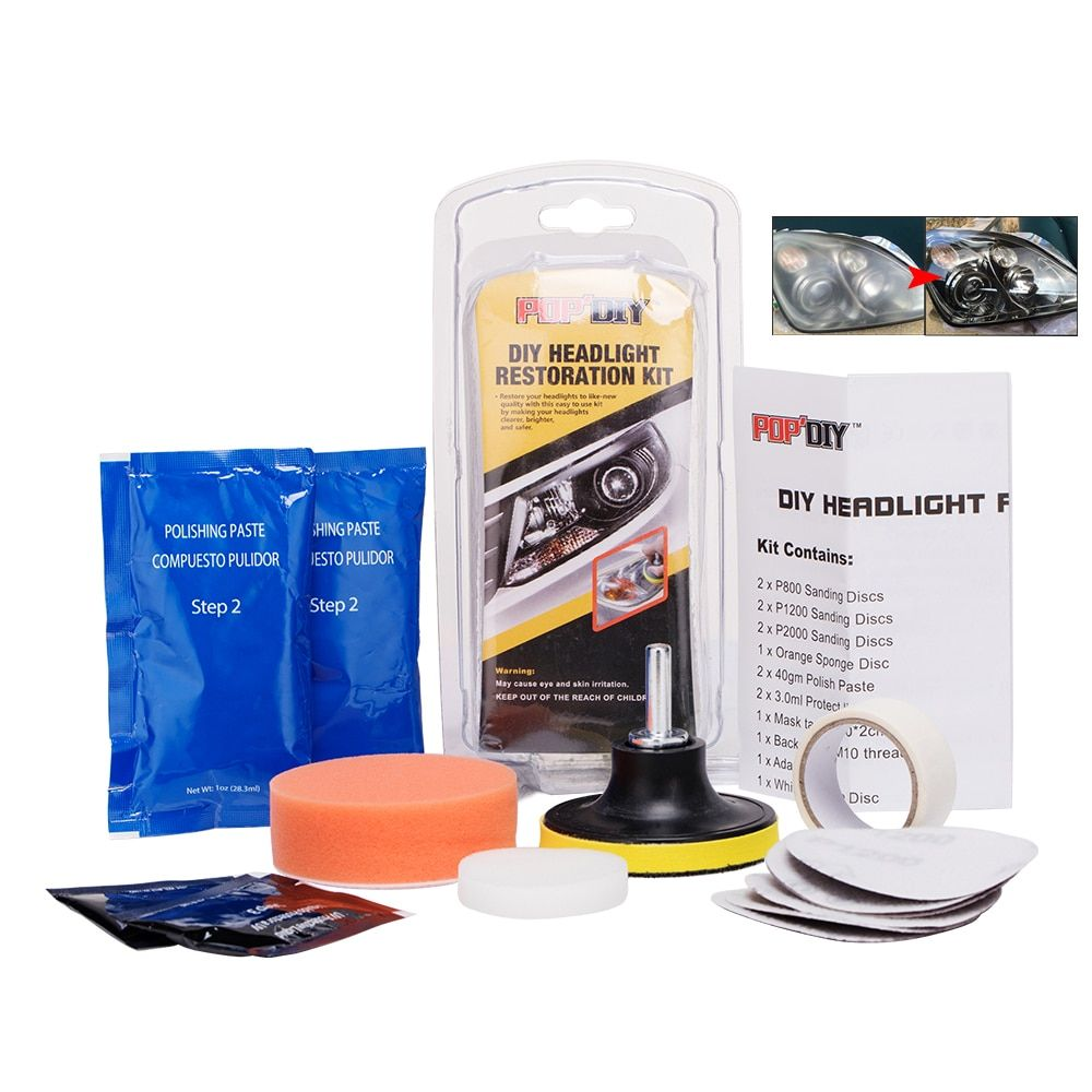 Headlamp Lenses Cleaning Kit DIY Headlight Restore Faded Discoloured Scratch Headlights Lamp Lights Shade Polishing For Car Wash
