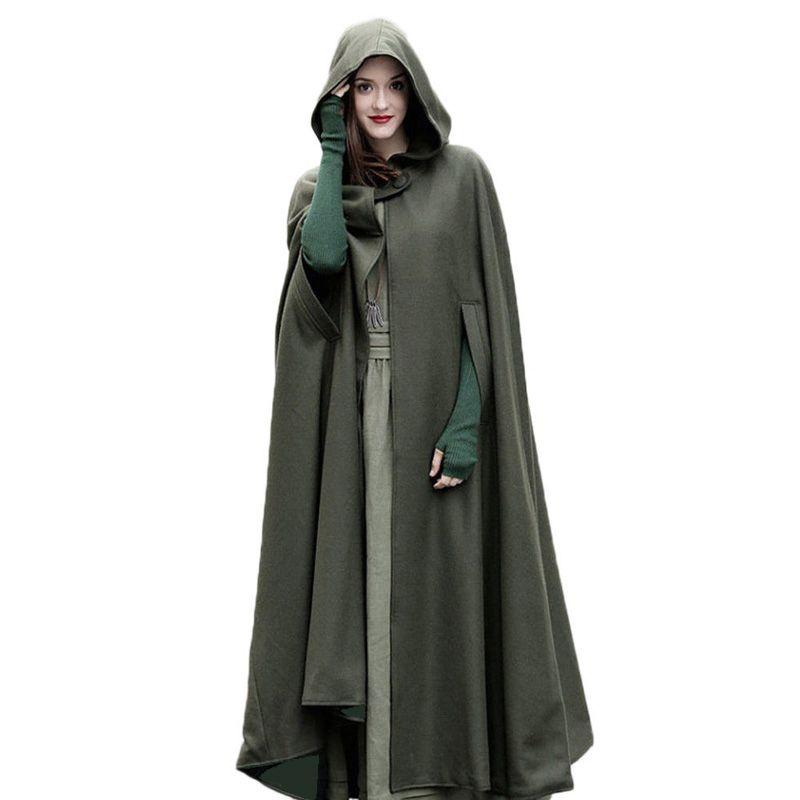 2017 Winter Cloak Hooded Coat Women Vintage Gothic Cape Poncho Coat Medieval Victorian Warm Long Cape Trench Coat Large Size