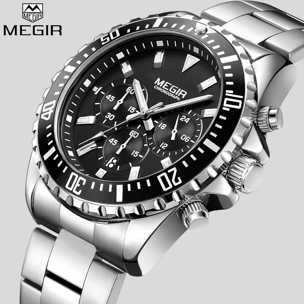 MEGIR Top Luxury Brand Watch Men <font><b>Analog</b></font> Chronograph Quartz Wrist Watch Full Stainless Steel Band Wristwatch Auto Date