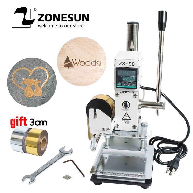 ZONESUN ZS90 Hot Foil Stamping Machine Manual Bronzing Machine for PVC Card leather and paper embossing stamping machine