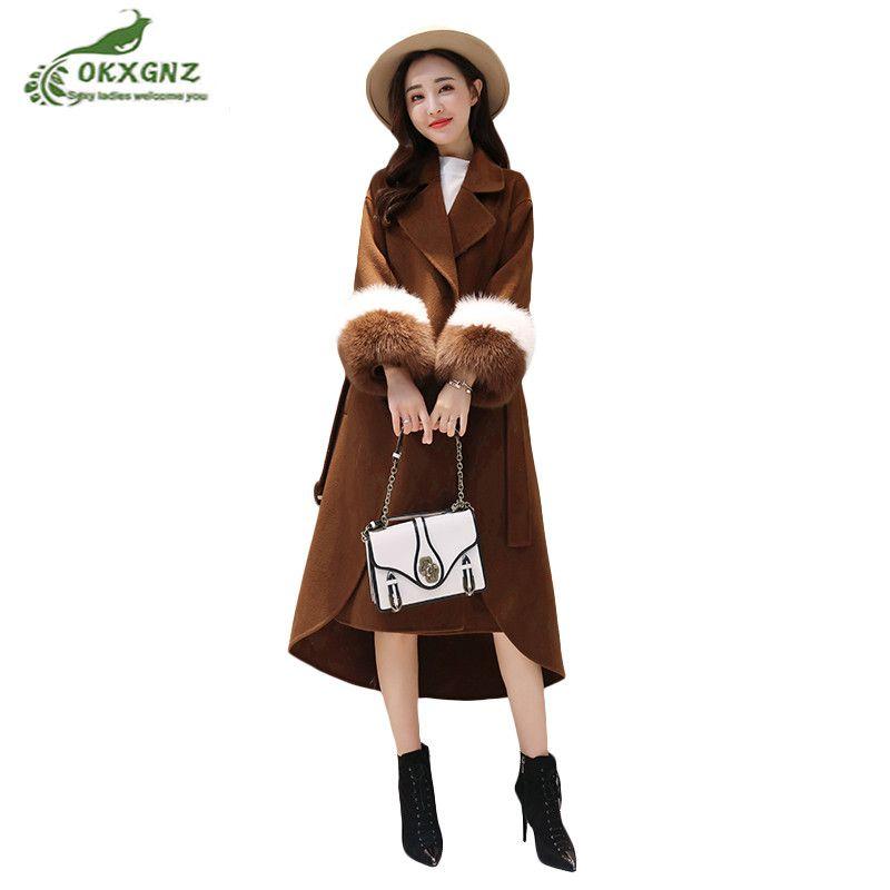 High quality New winter women self-cultivation medium-long wool coat female caramel color knees large size hit color coat OKXGNZ