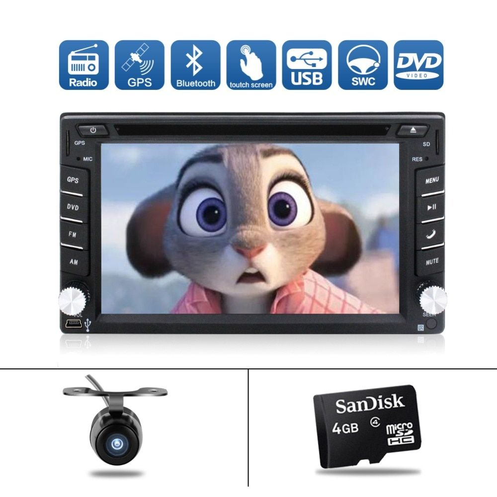 NEW Car Console Car Electronic 2 din Car DVD Player 6.2inch GPS Navigation Universal Car Radio In Dash Bluetooth Video Free Map