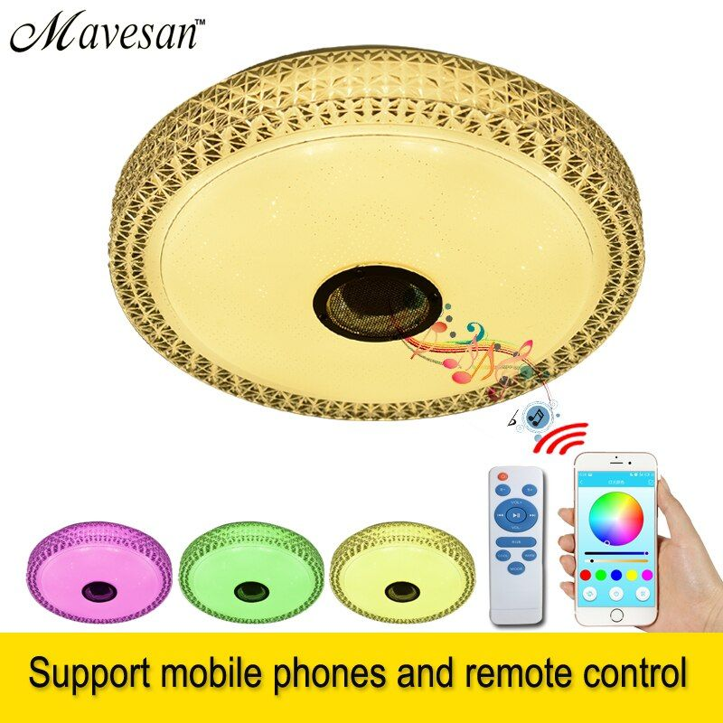 LED Music Ceiling Lamp with Bluetooth speaker 36w 90-260V modern lighting for home decoration luminaire light fixture luminarias