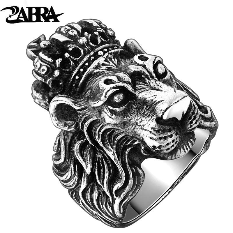 Authentique Réel Solide 925 Sterling Argent Couronne Lion Roi Anneau pour hommes Garçon Punk Rétro Vintage Cool Big Mens Biker Lion Tête anneau