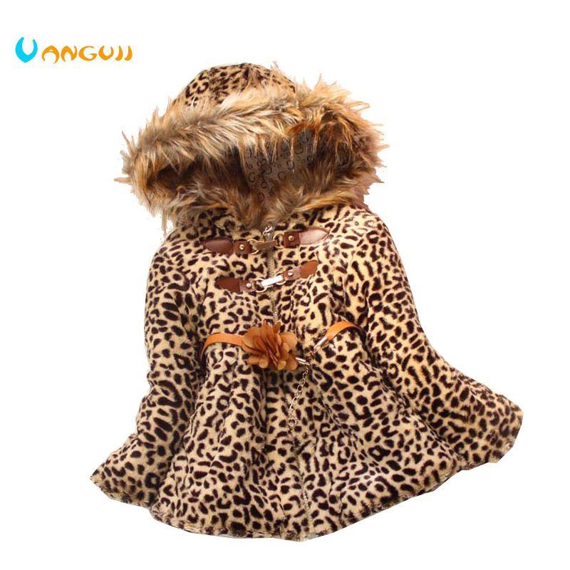 Зимнее пальто для девочек детская верхняя одежда с леопардовым дизайном пальто из искусственной кожи осенне пальто для девочек теплая детс...