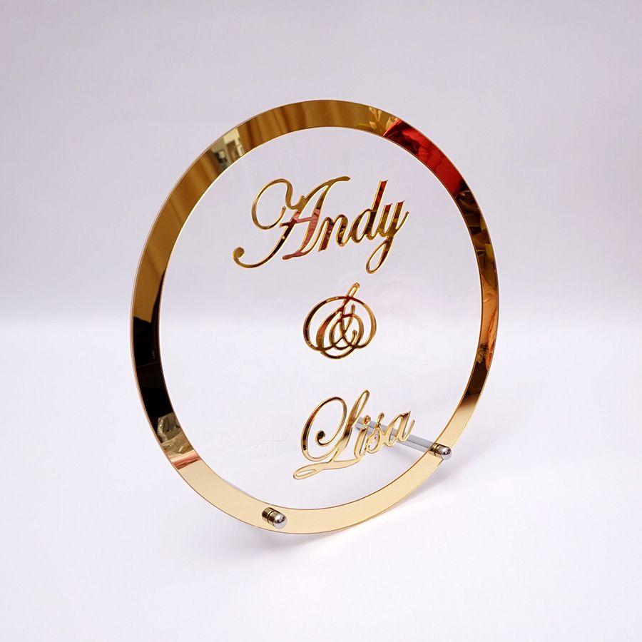 Rond personnalisé nom de mariage personnalisé miroir cadre acrylique babyreceveur mot signe cercle forme fête décor avec ongles invités cadeaux