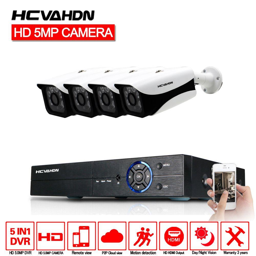HCVAHDN 5.0MP 4CH Sicherheit Kamera System CCTV Surveillance Kit 40 mt Nachtsicht Kamera HDMI P2P DVR 5MP Video Ausgang kits