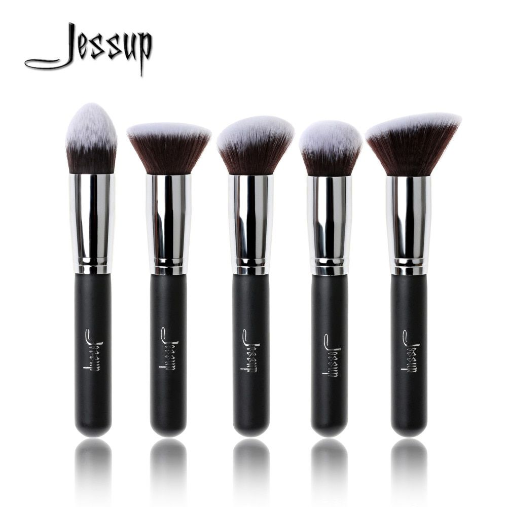 Jessup Brand 5pcs Black/Silver Beauty Kabuki Makeup Brushes Set Foundation Powder Blush brushes Make up Brush Cosmetics Tools