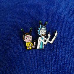 Rick y Morty esmalte pin insignia botón