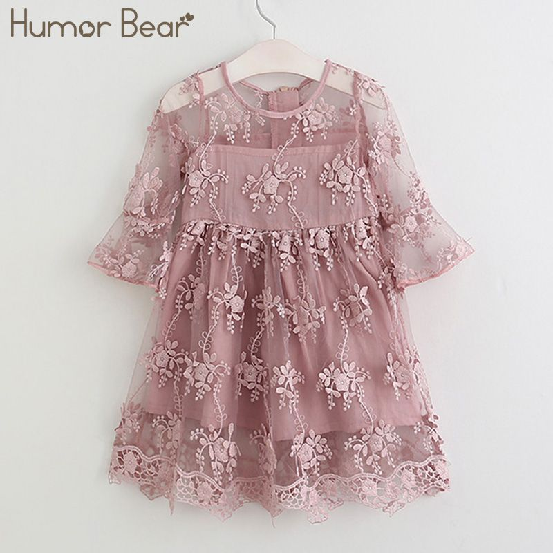 Humor Bear Girl Ball Gown Dress 2018 Toddler Girl Summer A-Line Lace Dress Princess <font><b>Birthday</b></font> Party Dress