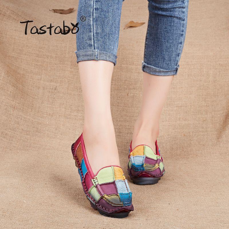 Tastabo Leather Autumn Pregnant Women Shoes <font><b>Female</b></font> Moccasins Women Losers Casual Shoes Flats Plus Size Shoes Women
