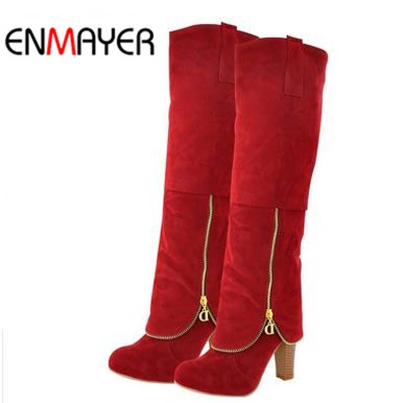 ENMAYER Flock Fashion Women Winter Boots Shoes New Long Boots For Women Big Size Snow Round Toe Square heel High Boots Shoes