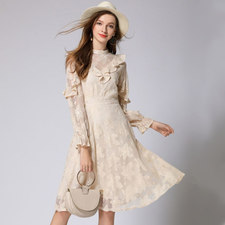 2018 autumn new women dress long-sleeved ruffled temperament lady openwork embroidered long lace dresses
