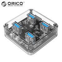 ORICO transparente USB 3,0 HUB 4 puertos USB divisor de alta velocidad con interfaz de carga de energía para Windows Mac Linux Laptop PC USB