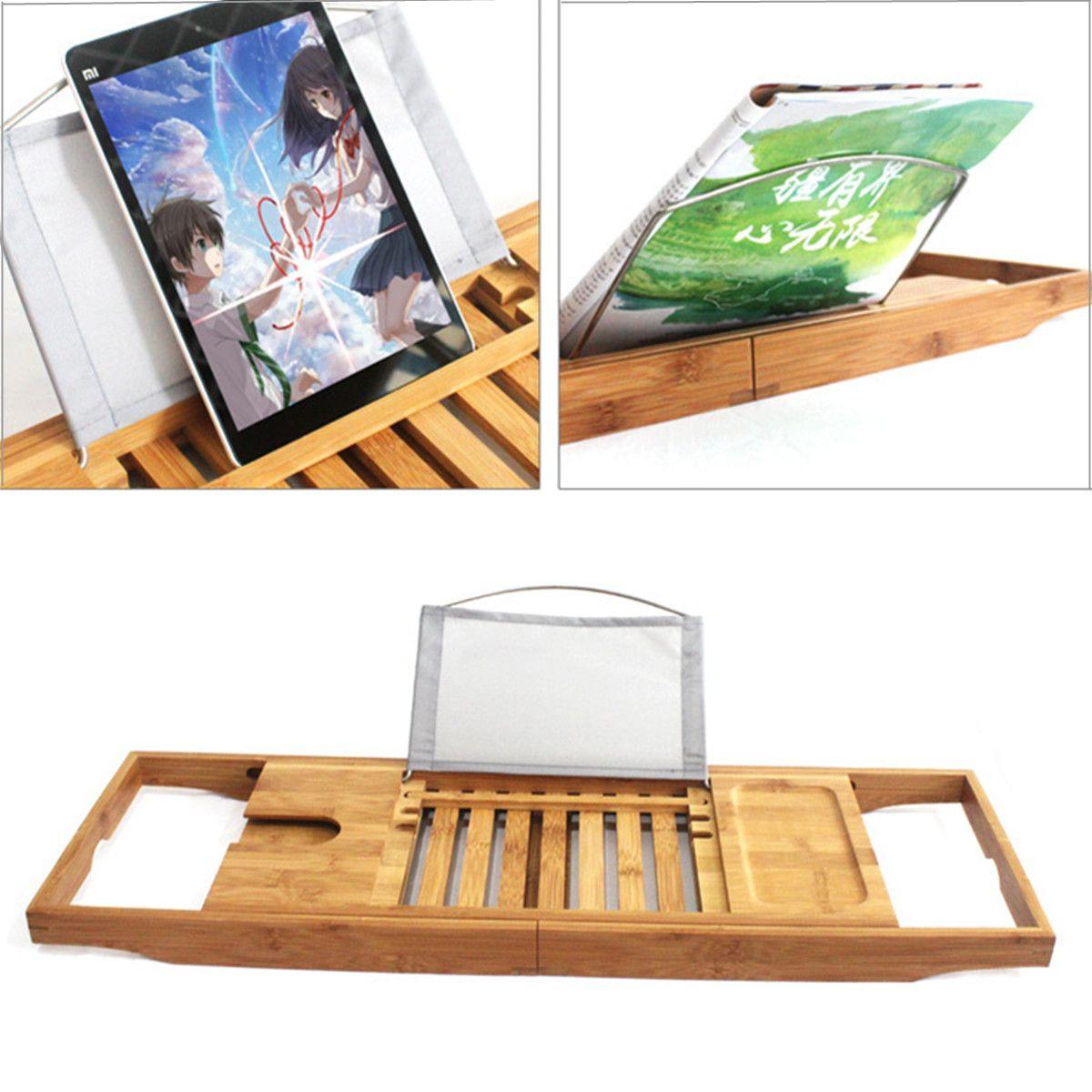 Caddy Wein Glas Buch Halter Erweiterbar Bad Bambus Bad Badewanne Rack Tray Einstellbare Länge 70-105 cm Lack ProcessSurface