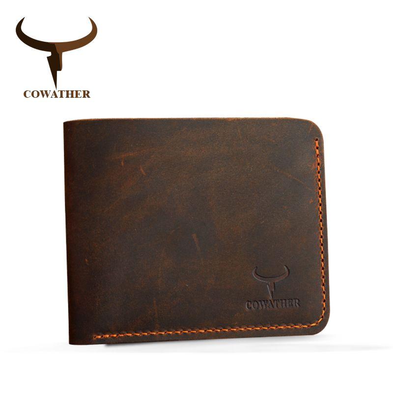 Cowather crazy horse кожа мужчины кошельки vintage подлинная кошелек кожаный для мужчин ковбой верхняя кожа тонкий поставить бесплатная доставка