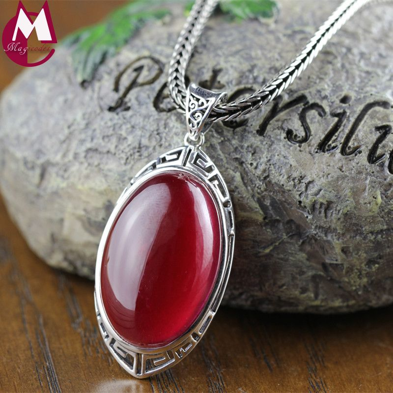 Big Gemstone Jewelry 20mm*30mm Oval Red Ruby Pendant Vintage Hollow Pattern Real 925 Sterling Silver Necklace Women RP01