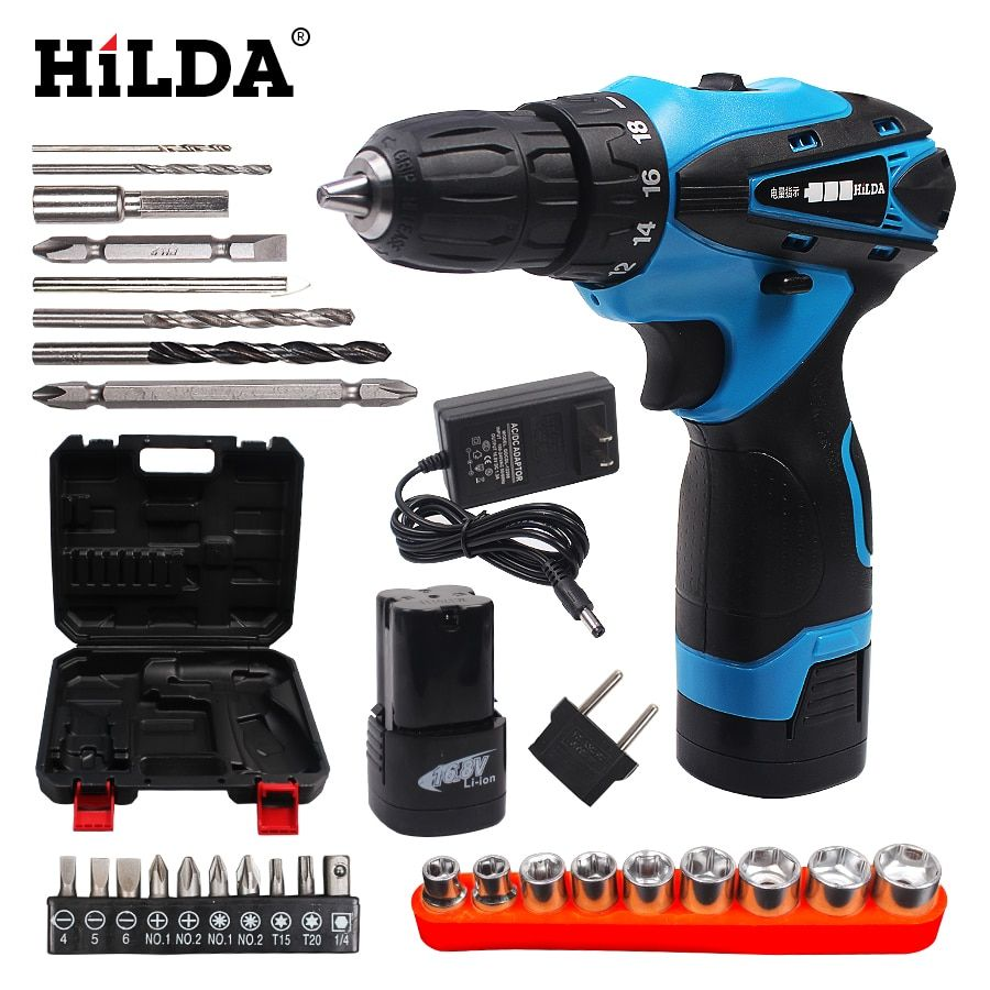16.8V Cordless screwdriver Double Speed Lithium Battery Power Tools Waterproof Electric Screwdriver Professional Case Household