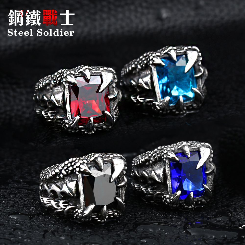 drop shipping exqusite Dragon Claw Ring With Red Blue Black Stone Stainless Steel jewelry for men