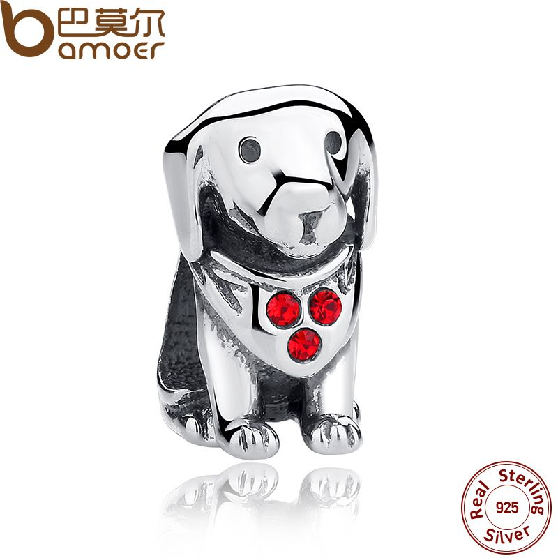 BAMOER 925 Sterling Silver Dog Animal Beads Charms With Red Created Stone for DIY Bracelet Jewelry Making Baby Gift SCC016