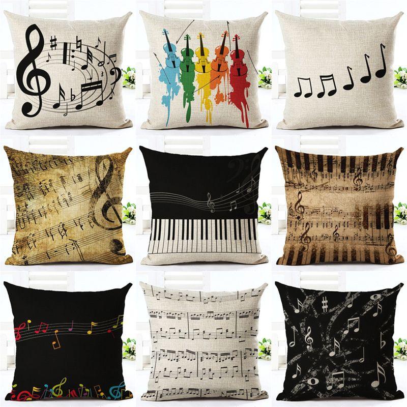 Music Series Note  Printed High Qulity Cotton Linen Decorative Cushion Cover Pillow Case Car Seat 45*45cm Pillowcase
