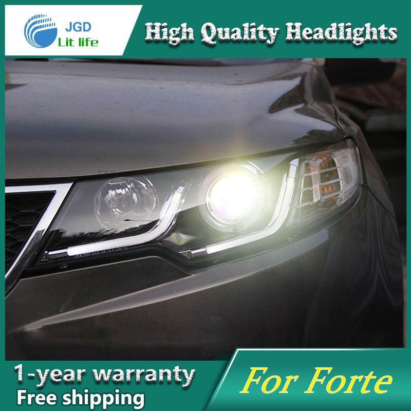 high quality Car Styling Head Lamp case for Kia Forte 2010-2013 LED Headlight DRL Daytime Running Light Bi-Xenon HID