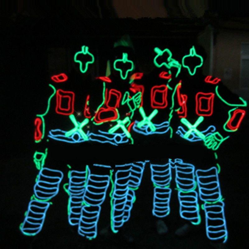 Сцена костюмы Костюмы костюм с подсветкой el Провода Одежда для танцев Волокно-оптические одежда Бесплатная доставка