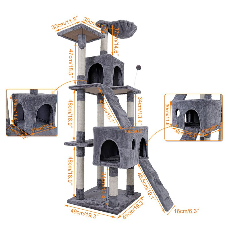 Domestic Delivery Large Cat High 175 cm Toy Cat House  Tree Pet Furniture Scratched Wooden Tree Cat Jump Lladder Pet lovest