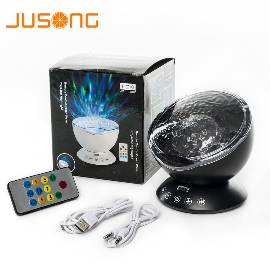 JUSONG Night Light Ocean Wave Projector Music Player Speaker LED Remote Control TF Cards Aurora Master Projection Kids USB