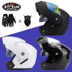 2018 nuevo llega Flip up motocicleta casco Cascos motocross Racing casco doble lente punto etiqueta