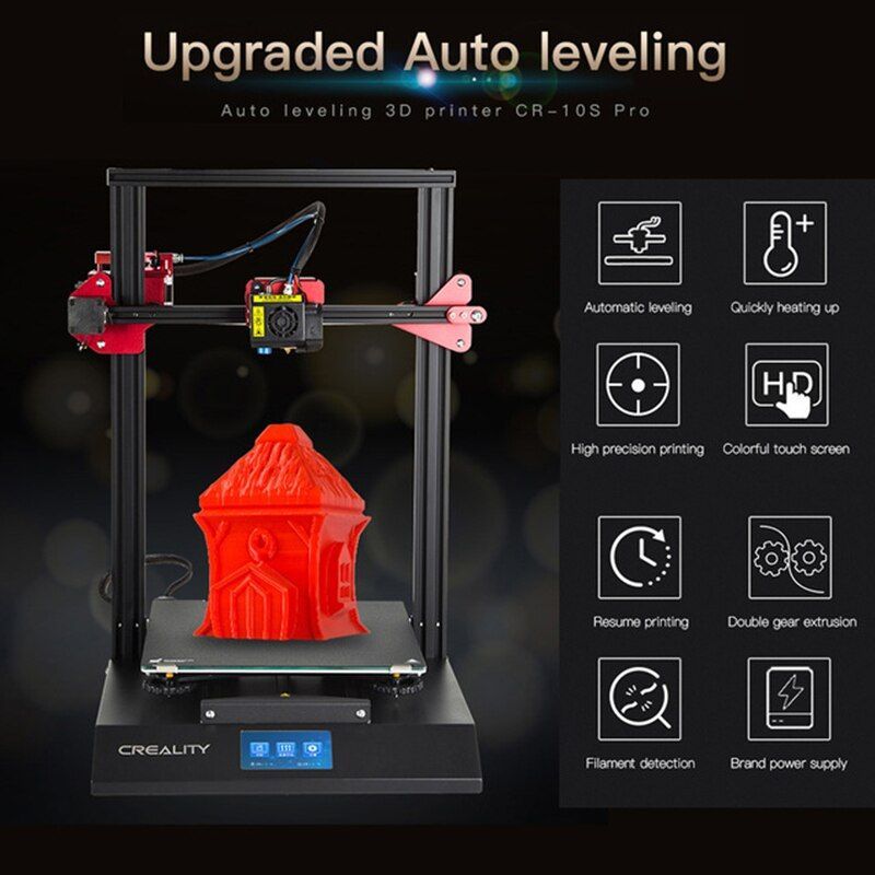 CR-10S Pro 4,3 zoll Touch LCD Auto Nivellierung Sensor Drucker Lebenslauf Druck Filament Erkennung Funtion MeanWell Power CREALITY 3D