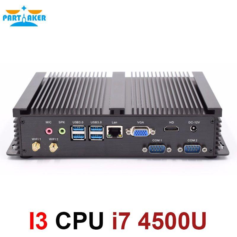 Mini ordinateur sans ventilateur Mini PC Windows 10 Core i7 4500U 2 * RS232 PC industriel robuste PC 4 K Ultra HD affichage
