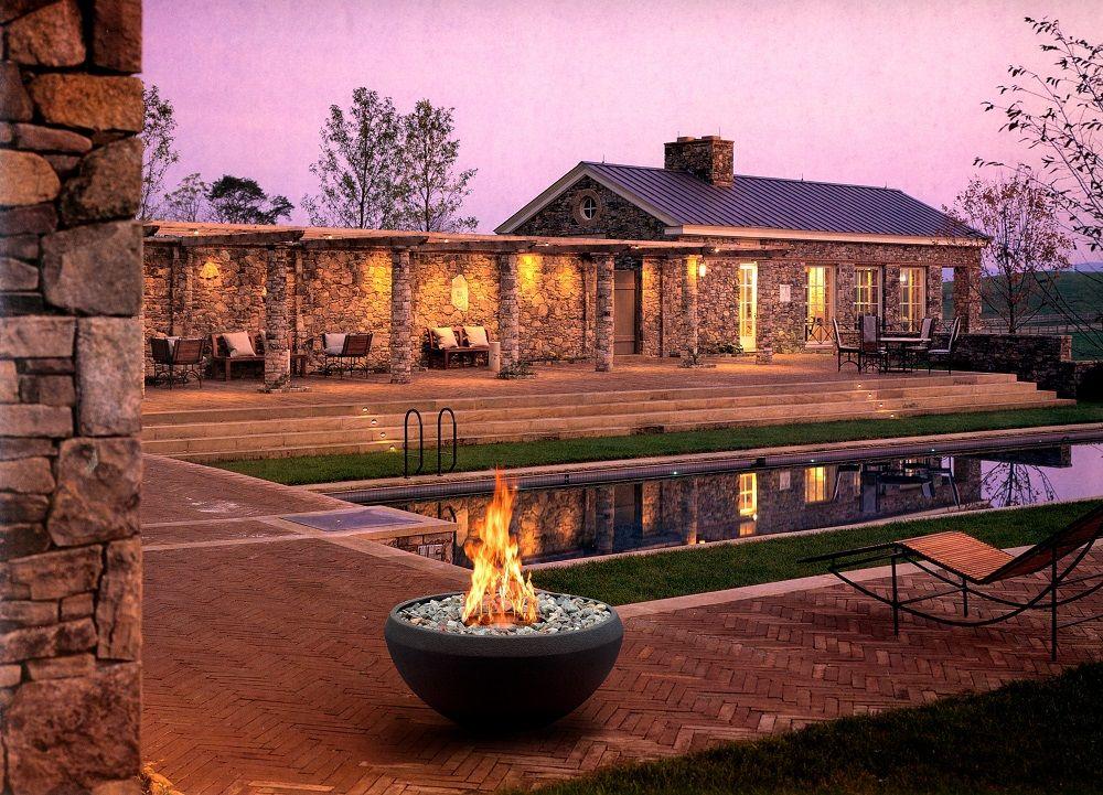 On Sale 8 liter round burner stainless steel outdoor bioethanol garden fireplace