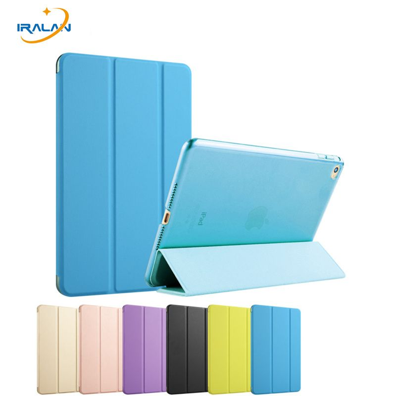 2018 hot Case for Apple iPad Air 2 PU leather+Transparent tablet PC Back Ultra Slim Light cover for iPad 6 9.7 inch+stylus+film