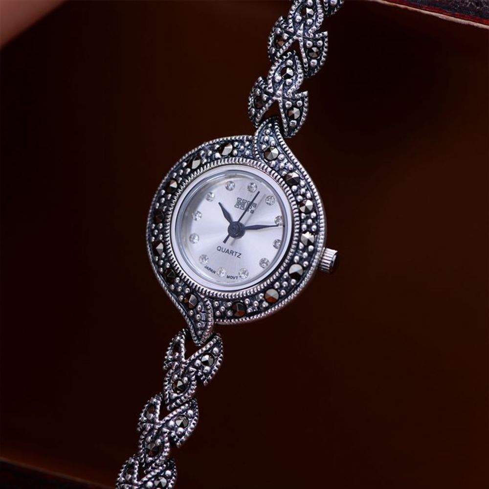 MetJakt Vintage Thai Silver Zircon Bracelet Watch Solid 925 Sterling Silver Clover Bracelets for Women's Fine Jewelry