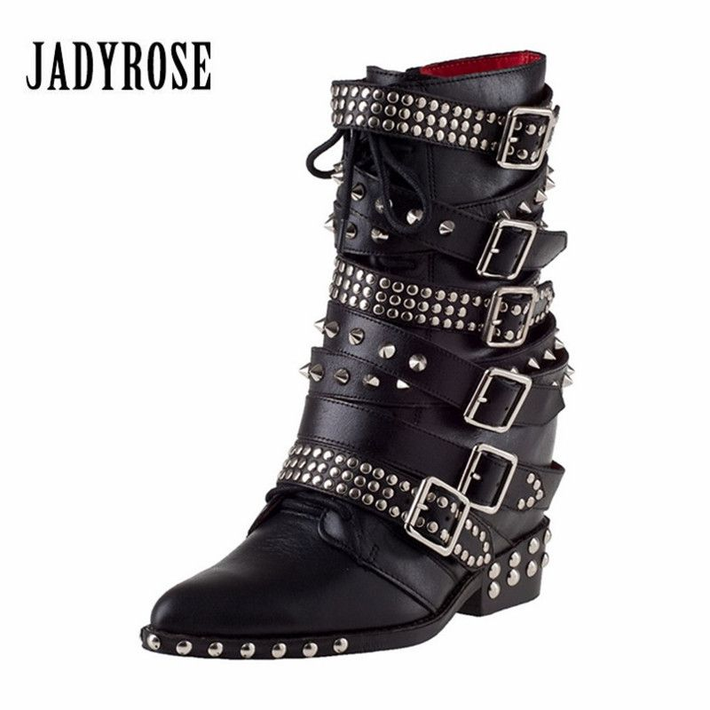 Jady Rose Genuine Leather Women Martin Boots Height Increasing Ankle Boots Rivets Studded Straps Platform Wedge Botas Mujer